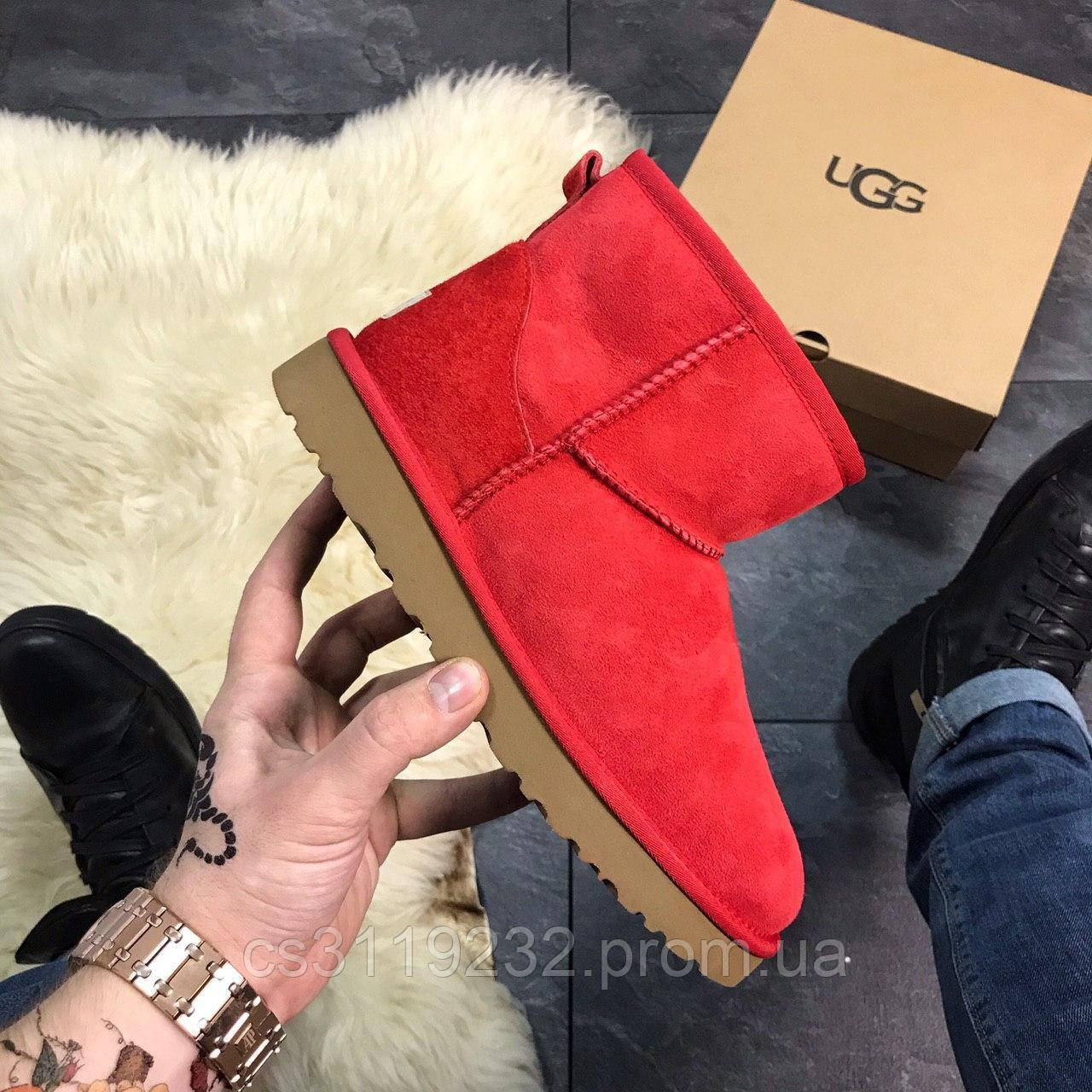 Женские сапоги зимние Ugg Classic Mini (красные)