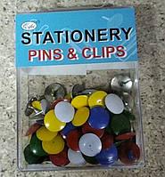 Кнопки канцелярские цветные 10х10 мм, 80 шт