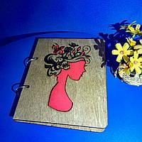 """Деревянный блокнот А5 """"Девушка-весна"""" (на кольцах с ручкой), ежедневник из дерева, планер"""