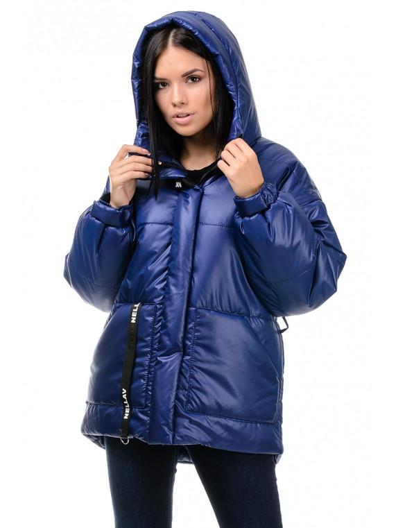 Короткая зимняя женское куртка Oversize с капюшоном