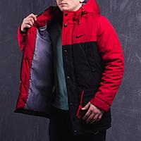 Мужская зимняя удлиненная куртка/парка (до -30°С) / Чёрный с красным цвет  (до 95кг)