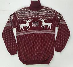 Детский вязанный свитер с зимним принтом
