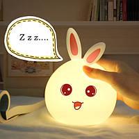 Ночник - светильник тач в виде Зайчика меняет цвет от прикосновения руки