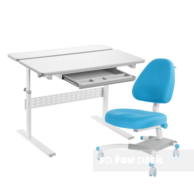 Комплект парта Colore Grey + подростковое кресло для дома Ottimo Blue FunDesk