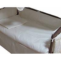 """Набор в детскую кроватку 3 элемента """"Жакард линия ваниль"""""""