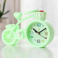 Настольные часы-будильник Велосипед. Светло-зеленый, Настільний годинник-будильник Велосипед. Світло-зелений