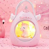 Детский ночник-светильник Единорог. Розовый, Дитячий нічник-світильник Єдиноріг. Рожевий