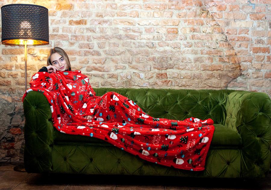 Плед з рукавами принт червоний Санта 200х160 см. мікрофібра одіяло орукоплед плєд Новорічний Новий Рік Різдво