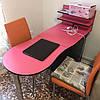 Розовый маникюрный стол с полочками, складной, три выдвижных ящика, фото 2