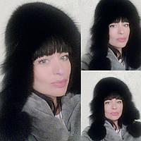 Меховая шапка -ушанка песец+кожа, фото 1