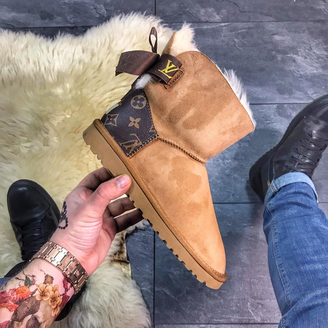 Женские Ugg Mini Bailey Bow Brown x Louis Vuitton.