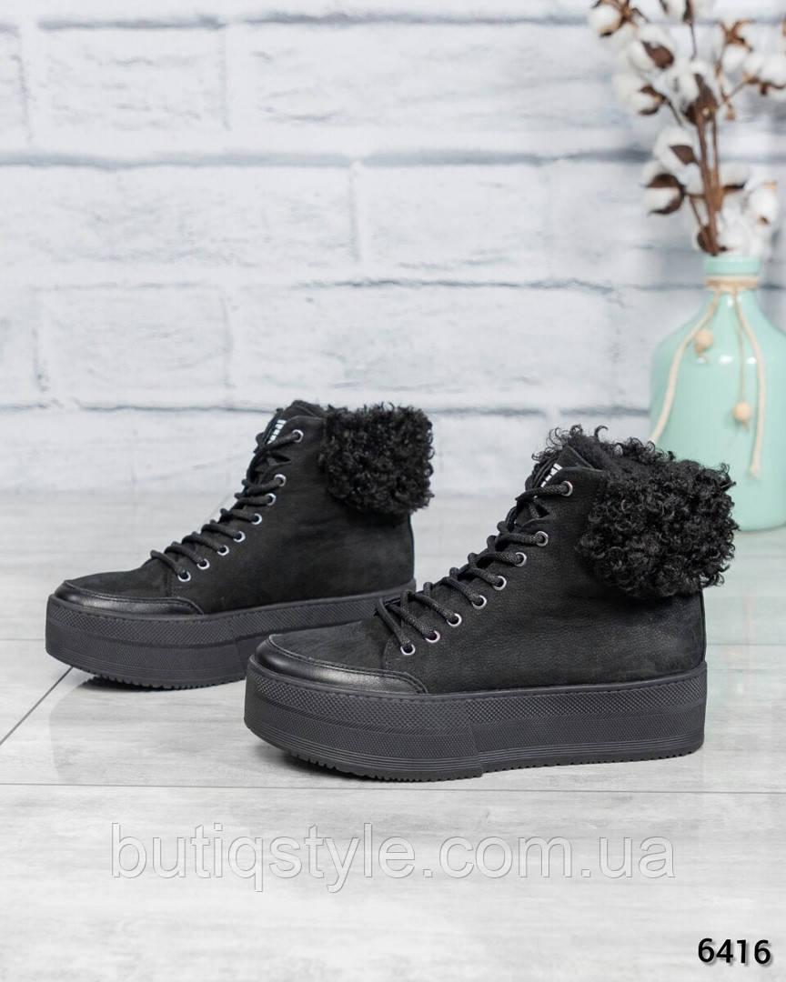 Зимние черные ботинки натуральный нубук  с опушкой