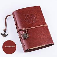 Винтажный блокнот с якорем и штурвалом. Красно-коричневый, Вінтажний блокнот з якорем і штурвалом. Червоно-коричневий