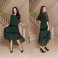 ЖІноче шикарне  плаття двойка з шифоновим верхом , 3 кольори.Р-ри 42-58, фото 1