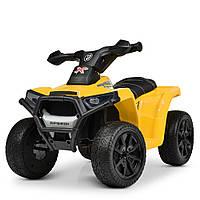 Детский электромобиль квадроцикл KX 207, резиновые колёса, кожа, дитячий електромобіль, жёлтый