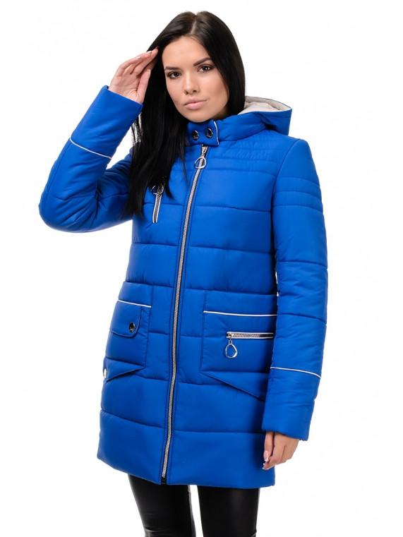 Зимняя женская куртка со съемным капюшоном