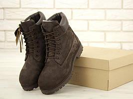Мужские ботинки Timberland на натуральном меху коричневого цвета