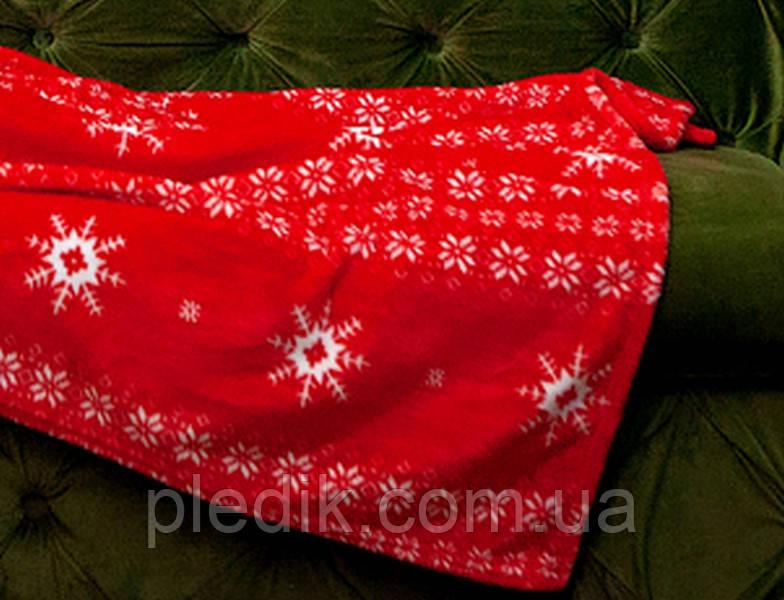 Плед с рукавами из микрофибры, 160х200 Красные снежинки
