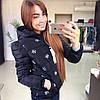 Женская стильная куртка *Снежинки* (черная, молочная)