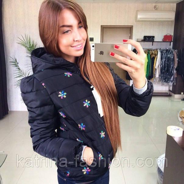 Женская стильная куртка  Снежинки  (черная, молочная) - KATRINA FASHION -  оптовый ec45d14d037