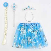 Карнавальный набор для девочки королева Эльза Фроузен, 4 предмета