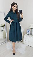 Женское платье на запах с длинным рукавом и расклешенной юбкой