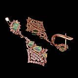 Эксклюзивные серьги природный натуральный Огненный Опал. Серебро 925 в позолоте 14 карат., фото 3