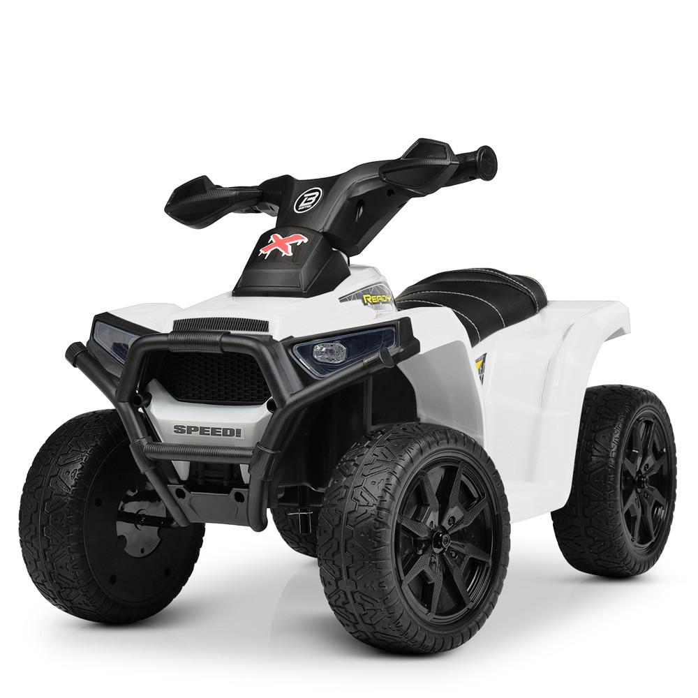 Дитячий електромобіль Квадроцикл M 4207 EL-1, колеса EVA, шкіряне сидіння, музика, білий