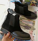 Жіночі зимові чорні челсі в стилі Timberland оксфорд черевики натуральна шкіра, фото 4