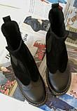 Жіночі зимові чорні челсі в стилі Timberland оксфорд черевики натуральна шкіра, фото 5