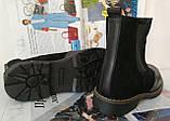 Жіночі зимові чорні челсі в стилі Timberland оксфорд черевики натуральна шкіра, фото 6
