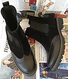 Жіночі зимові чорні челсі в стилі Timberland оксфорд черевики натуральна шкіра, фото 2