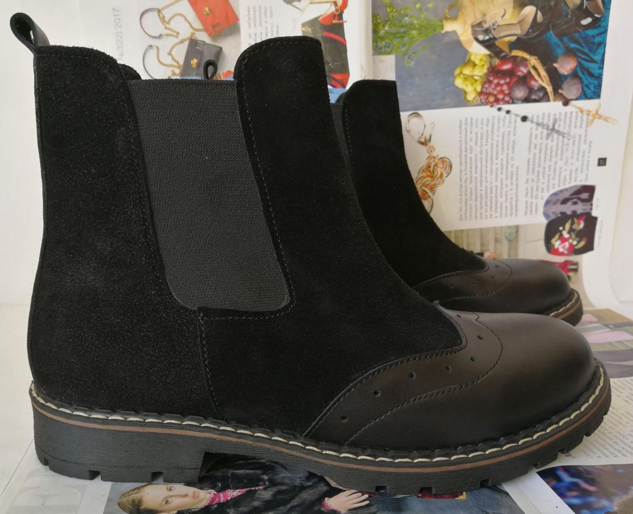 Жіночі зимові чорні челсі в стилі Timberland оксфорд черевики натуральна шкіра