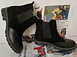 Жіночі зимові чорні челсі в стилі Timberland оксфорд черевики натуральна шкіра, фото 3