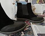 Жіночі зимові чорні челсі в стилі Timberland оксфорд черевики натуральна шкіра, фото 8