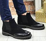 Жіночі зимові чорні челсі в стилі Timberland оксфорд черевики натуральна шкіра, фото 9
