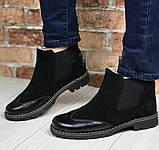 Жіночі зимові чорні челсі в стилі Timberland оксфорд черевики натуральна шкіра, фото 10
