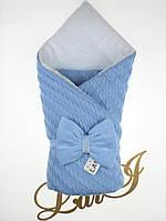 "Зимний вязаный конверт-одеяло ""Дуэт 2"" голубой"