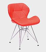 Стул обеденный в скандинавском стиле на металлических ножках Invar (Инвар)   CH-ML  Экокожа ,  красный 05