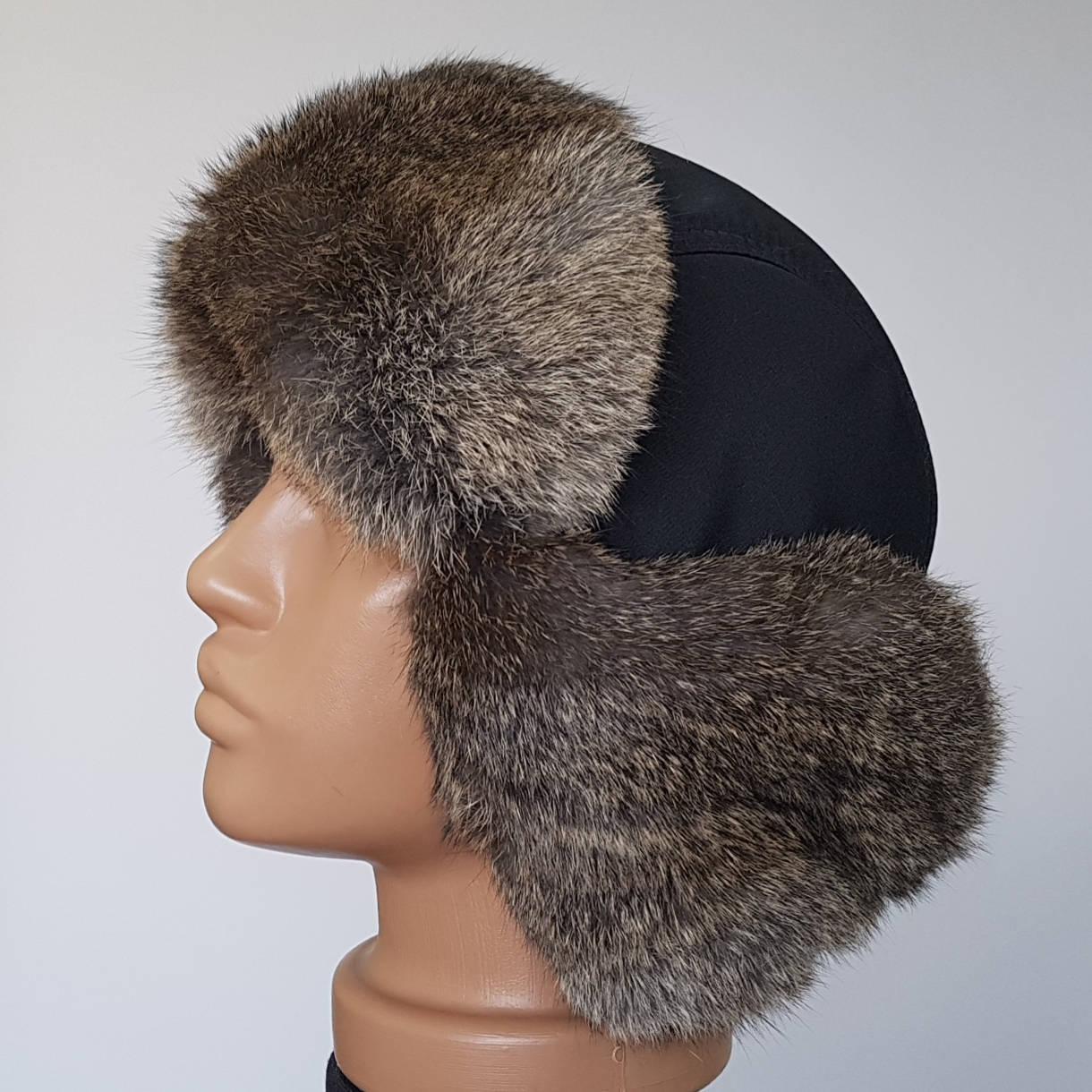 Мужская шапка ушанка с коричневым мехом кролика
