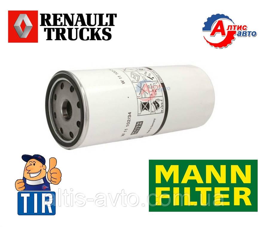 Масляный фильтр Рено Магнум, Мидлум, Премиум Керакс вкручиваемый Mann Filter W11102/34