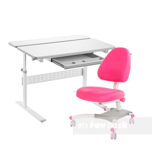 Комплект парта Colore Grey + подростковое кресло для дома Ottimo Pink FunDesk