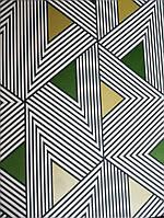 Обои флизелиновые Khroma Wild WIL502 геометрия 3д треугольники полосы зеленые золотистые белые