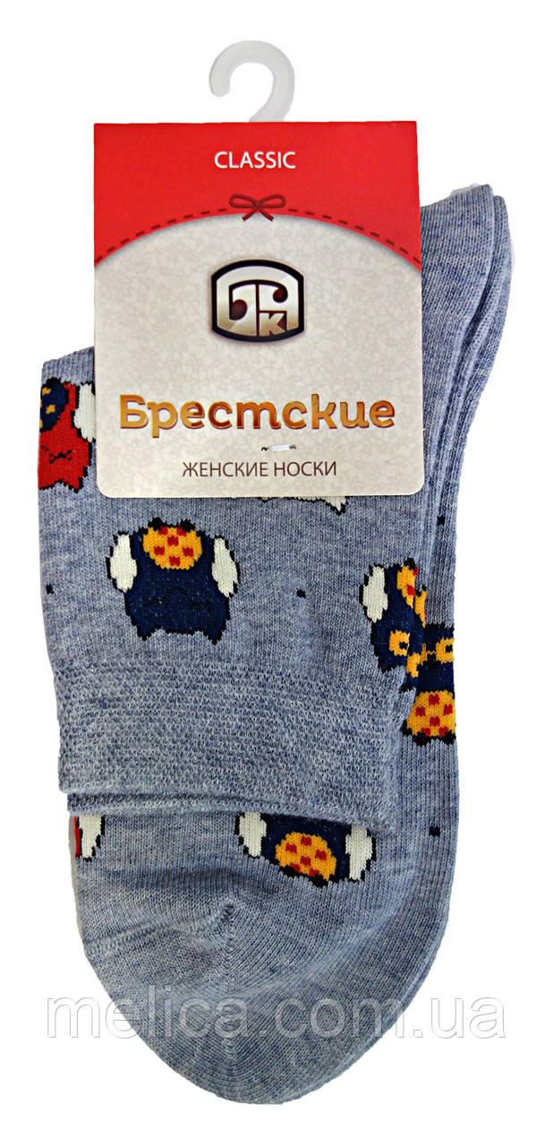 Шкарпетки жіночі бавовняні Брестські Classic 16С1102, р. 23, рис.165, сірий меланж Сови