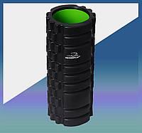 Массажный роллер для йоги (валик массажер) фоам ролер для самомасажа Fitness Foam Roller PS-4050 Black/Green