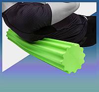 Массажный роллер для йоги (валик массажер) фоам ролер для самомасажа (90*15см) Зелений