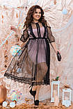 Ошатне жіноче плаття двійка Розмір 48 50 52 54 56 58 60 62 64 В наявності 4 кольори, фото 2
