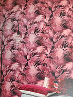 Обои флизелиновые Khroma Wild WIL106  листья папоротника бордовые алые на черном фоне, фото 1