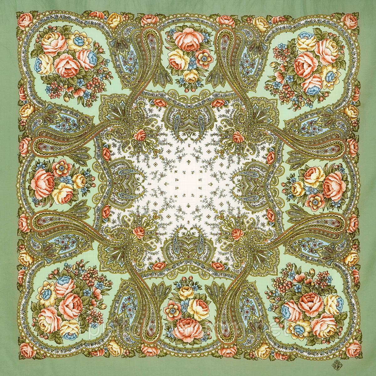 Сольвейг 1549-3, павлопосадский вовняну хустку з шовковою бахромою
