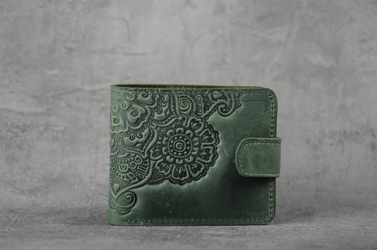 Зелёный кожаный кошелек с орнаментом ручной работы, женский кошелек, фото 1